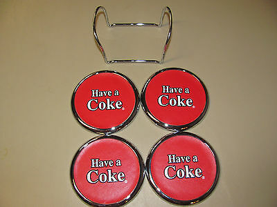 1999 Set of Coca Cola Coasters Have a Coke Red Silver Heavy with Stand Excellent