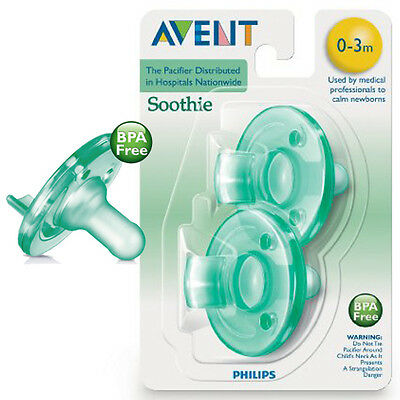 New Philips Avent BPA Free Soothie Pacifier 0-3 Months 2 Pack Green Pkg May Vary