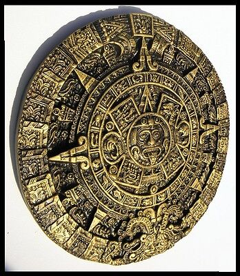 AZTEC,CALENDAR,DECORATIVE,HANDMADE Dark Gold