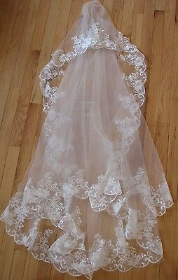 White/Ivory Cathedral Lace Wedding/Bridal Veil /3m (105X56in)