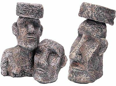 Aquarium Rock with Face Ornament Easter Island Heads Fish Tank Decoration
