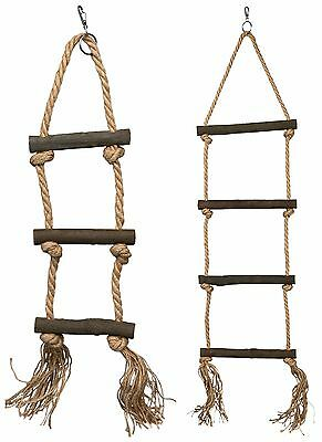 Natural Knotted Rope Ladder & Wooden Rungs for Birds or Reptiles in 2 Sizes