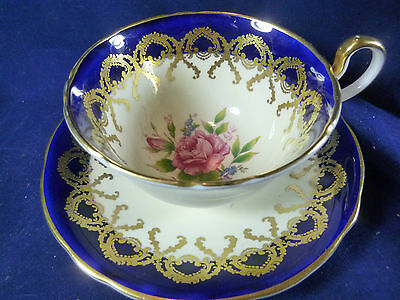 AYNSLEY FANCY  TEA CUP AND SAUCER COBALT AND WHITE PINK ROSES LUSH GILT c1930