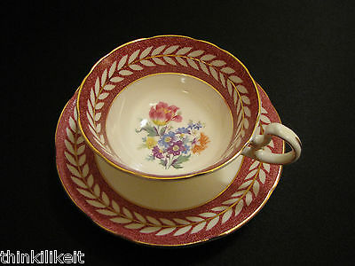 Vtg AYNSLEY Tea Cup and Saucer Duo DORIS Pattern 1930's Stamp