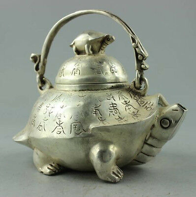 Collectible Decorated Old Handwork Tibet Silver Carved Tortoise Big Tea Pot