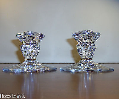 """BEAUTIFUL FOSTORIA AMERICAN - 1 PAIR 3""""  CANDLESTICKS -  BASE FOR CANDLE LAMP"""