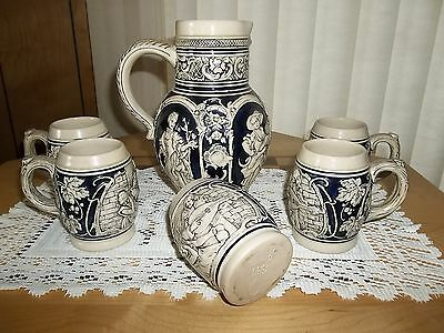 PHENOMINAL VINTAGE 6-PC GERMAN WINE PITCHER & STEINS EMBOSSED NO.330 ART POTTERY