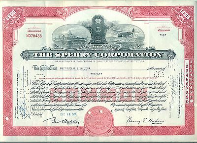 Sperry Corporation Stock Certificate Delaware