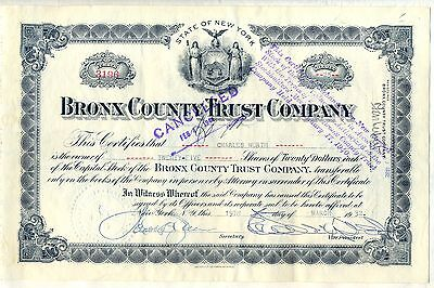 Bronx County Trust Company Stock Certificate New York Now JP Morgan
