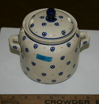 Vintage Hand Made Poland Boleslawiec Jar Pot Canister Container w/ Lid Sticker