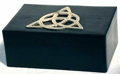 Black Hinged Triquetra Treasure Box Silver-toned Inlay Free Shipping FS