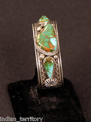Navajo Indian Sterling Silver and Royston Turquoise Stone by Albert Jake
