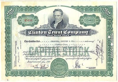 Clinton Trust Company Stock Certificate New York Financial