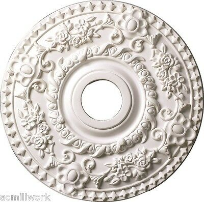 Ceiling Medallion 18 inch Primed White D522 for light fixture round large design