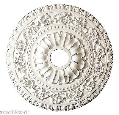 Ceiling Medallion 24 Inch White Polyurethane large round f/ Light fixture canopy