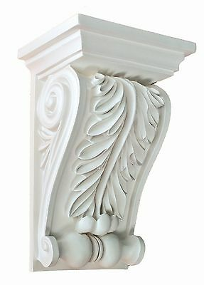 Corbel Acanthus leaf 9 Inch Primed White bracket for wall shelf ceiling molding