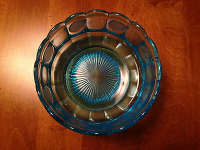 Fostoria Coin Glass Dish Blue Round Bowl