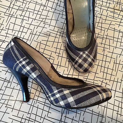 1940s WW2 VINTAGE Pin Up Navy Blue Plaid Baby Doll High Heel Shoes 7-7.5