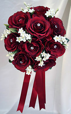 Brides Hand Tied Wedding Bouquet, Burgundy roses with stephanotis