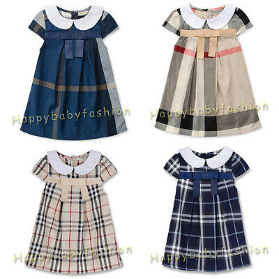 New Baby Girl Checker Dress Toddler Clothes Size:0,1,2,3,4,5 Gift 100% cotton