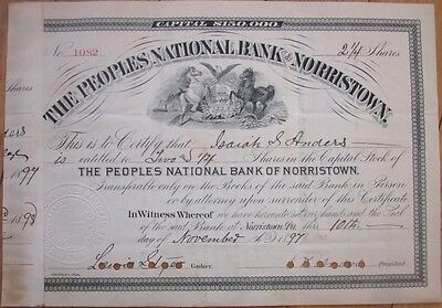 1897 Stock Certificate: 'Peoples National Bank of Norristown, Pennsylvania' PA