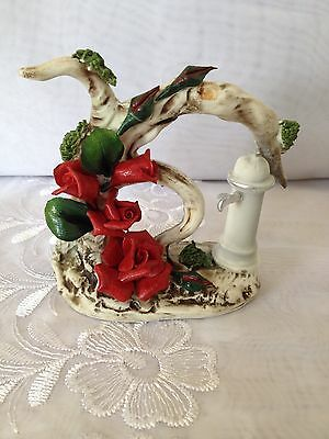 CAPODIMONTE ROSES ON A BRANCH WITH OLD FASHIONED WATER PUMP WELL