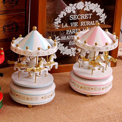 Wooden Merry-Go-Round Carousel Classic Music Box For Kids Christmas Gift Toy
