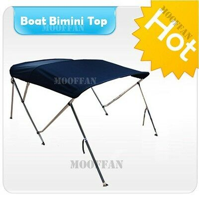 Marine Blue 3 Bow Boat Bimini Top Free Clips Canopy Cover Aluminum Poles MB3N1