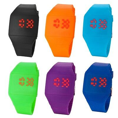 Fashion Mens Womens Digital LED Touch Sports Silicone Bracelet Wrist Watch