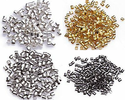 1000pcs Wholesale Silver/Gold/Black/Bronze Plated Tube Crimp End Beads ,2mm