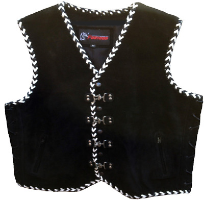 Motorcycle Vest Suede Leather Motorbike Rider Waistcoat Triple Hand Braided VEST