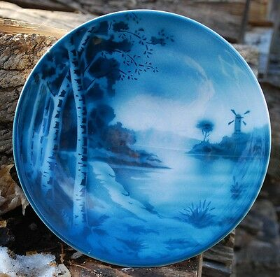Windmill & Birches On Lake Vintage Plate Petrus Ragout Co. Maastricht Holland