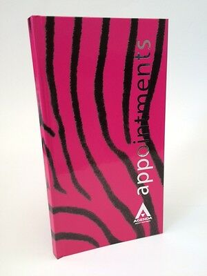 Agenda 3 Column Appointment Book - Pink Zebra - Reception, Meetings, Secretary..
