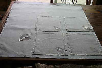Vintage Linen Tablecloth and Four Napkins for Card Table, Card Design, 32 x 32