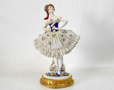 Exquisite Antique Large Dresden Lace Ballerina Sitzendorf 1900