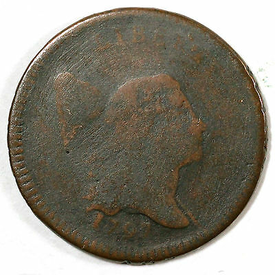 1797 C-3b R-4 Lettered Edge Liberty Cap Half Cent Coin 1/2c