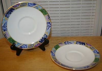 Discontinued Minton Saucer ~ Blue Mosaic Pattern.   2 Saucers, no cups
