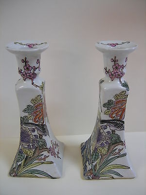 VINTAGE PAIR OF ASIAN HAND PAINTED PORCELAIN CANDLE HOLDER CANDLESTICK SIGNED