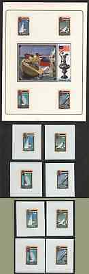 Grenada 1987 America's Cup set and SS MASTER PROOFS on glossy plastic (x13)