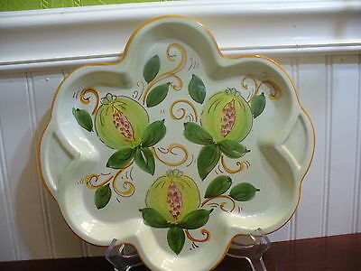 Ceramiche Italy Pottery Hand Painted Pomegranite Motif Serving Tray