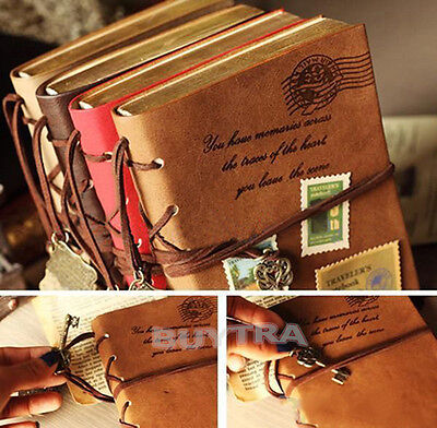 US Retro Classic Vintage Leather Bound Blank Pages Journal Diary Notebook New JB