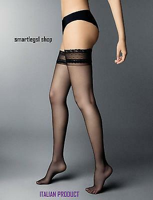 NEW Womens Hold ups Ladies Lace Top Black 6 Den Sheer Stockings Italian tights