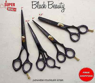 4Pcs Set Of Barber Black Titanium Coated Hairdressing & Thinning Scissors 6 7""