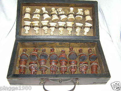 Chinese Army Style 32 Pieces Chess Set Leather Wood Box