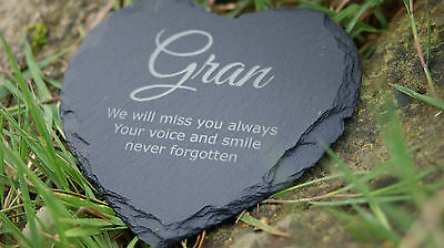 Personalised Engraved Heart Shape Natural Slate Memorial Marker Garden Plaque