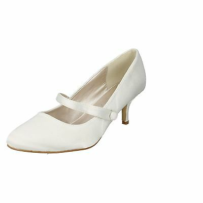 Ladies Anne Michelle Ivory Satin Wedding Shoes Style - F9753
