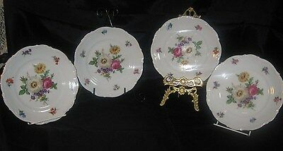 Four Mitterteich Bavaria Germany Meissen Floral China Salad Plates