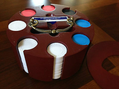 VINTAGE POKER CHIP SET - MAHOGONY-COLORED ROTATING TRAY W/COVER/HANDLE/CARDS