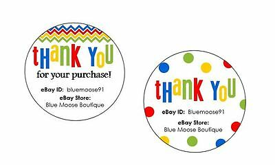 96 Personalized eBay SELLER THANK YOU Label Sticker ~ Round Circle Design