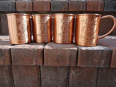 """Set of 4 Moscow Mule Mugs - Stamped """"Tito's Vodka"""" - 100% Copper"""